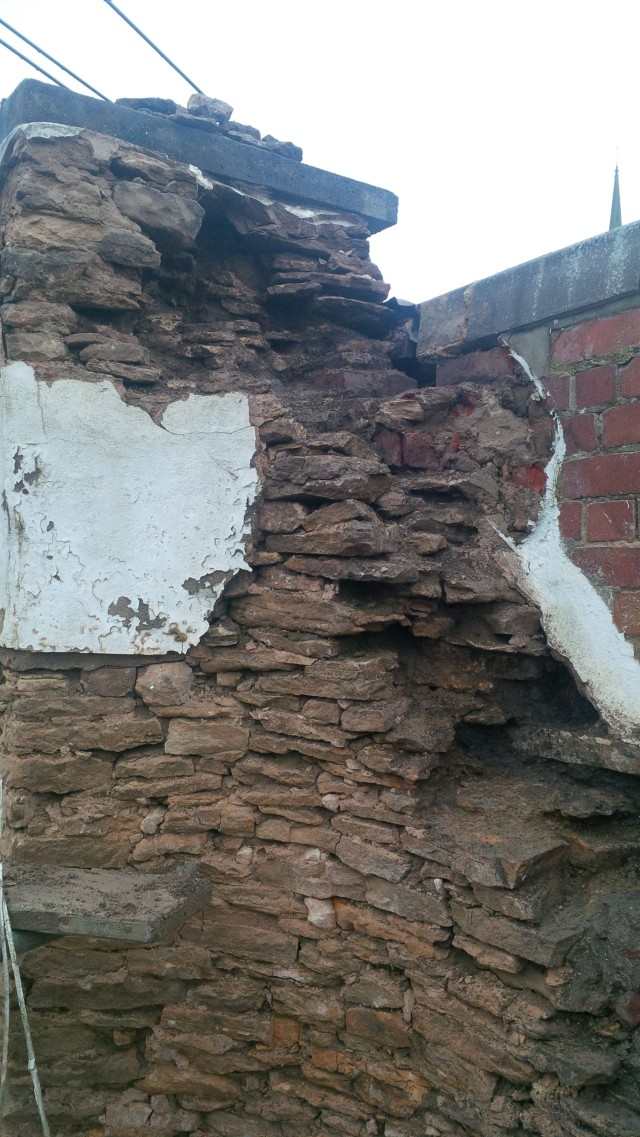 right hand flank voids once filled with cement and rubble